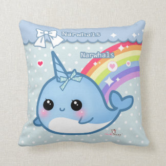 Cute rainbow narwhal on white & blue polka dots cushion