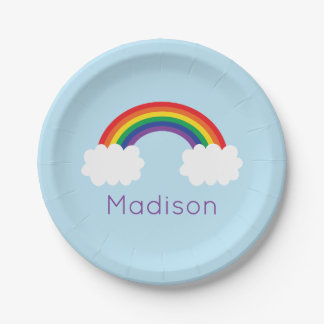 Cute Rainbow Party Paper Plate