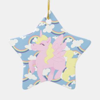 Cute Rainbow Pattern with Pink Unicorn Pegasus Ceramic Ornament