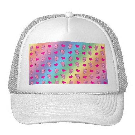 Cute rainbow pig hearts pattern hats
