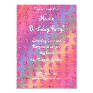 Cute rainbow pig pattern 13 cm x 18 cm invitation card