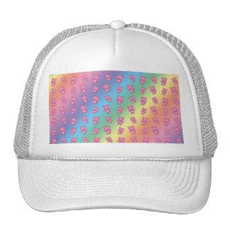 Cute rainbow pig pattern trucker hat