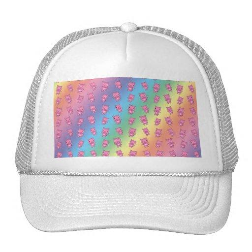 Cute rainbow pig pattern hats