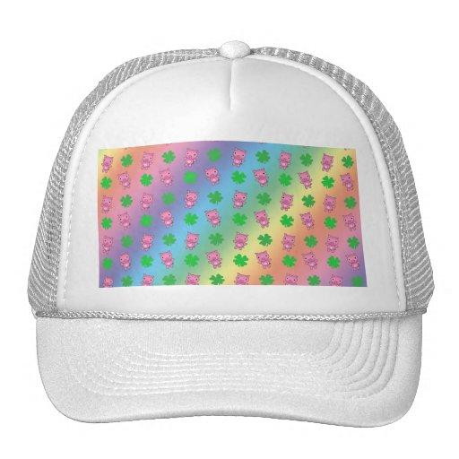 Cute rainbow pig shamrocks pattern mesh hats