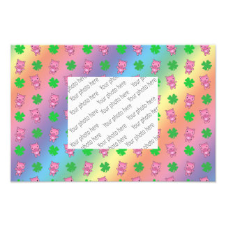 Cute rainbow pig shamrocks pattern photo print