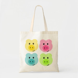 Cute Rainbow Pig Tote Bag