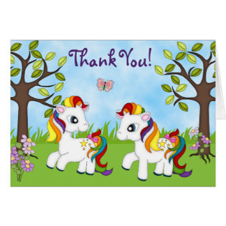 Cute Rainbow Ponies Horse Thank You Cards