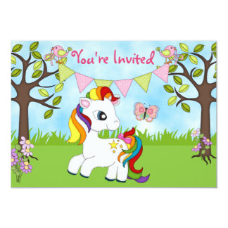 Cute Rainbow Pony Horse Birthday Invitations