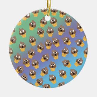 Cute Rainbow Poop Emoji Ice Cream Cone Pattern Ceramic Ornament