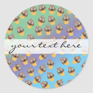 Cute Rainbow Poop Emoji Ice Cream Cone Pattern Round Sticker