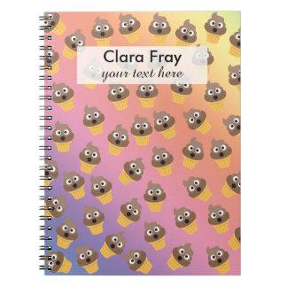 Cute Rainbow Poop Emoji Ice Cream Cone Pattern Spiral Notebook