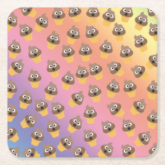 Cute Rainbow Poop Emoji Ice Cream Cone Pattern Square Paper Coaster