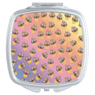 Cute Rainbow Poop Emoji Ice Cream Cone Pattern Vanity Mirrors