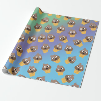 Cute Rainbow Poop Emoji Ice Cream Cone Pattern Wrapping Paper