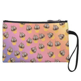 Cute Rainbow Poop Emoji Ice Cream Cone Pattern Wristlet