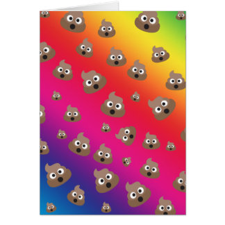 Cute Rainbow Poop Emoji Pattern Card