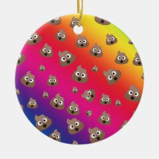 Cute Rainbow Poop Emoji Pattern Ceramic Ornament