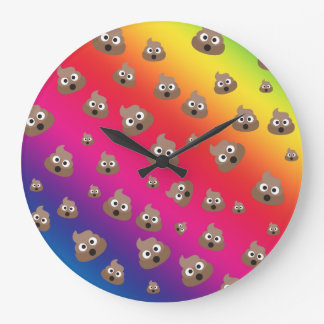 Cute Rainbow Poop Emoji Pattern Large Clock