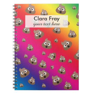 Cute Rainbow Poop Emoji Pattern Notebook