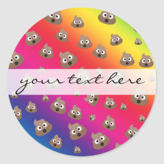 Cute Rainbow Poop Emoji Pattern Round Sticker