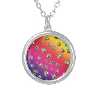 Cute Rainbow Poop Emoji Pattern Silver Plated Necklace