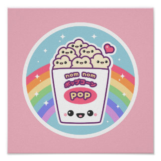Cute Rainbow Popcorn Poster