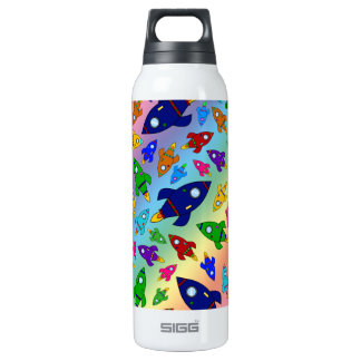 Cute rainbow rocket ships pattern 0.5 litre insulated SIGG thermos water bottle