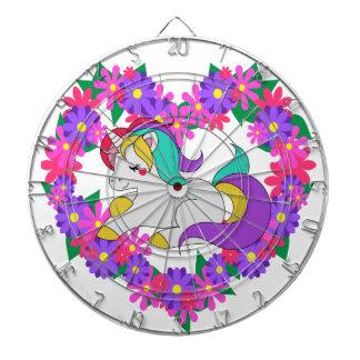 cute rainbow unicorn dartboard