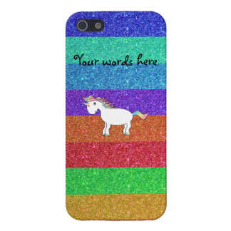 Cute rainbow unicorn glitter rainbow stripes iPhone 5/5S cases