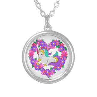 cute rainbow unicorn silver plated necklace
