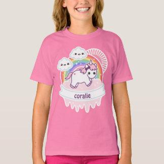 Cute Rainbow Unicorn with Clouds T-Shirt