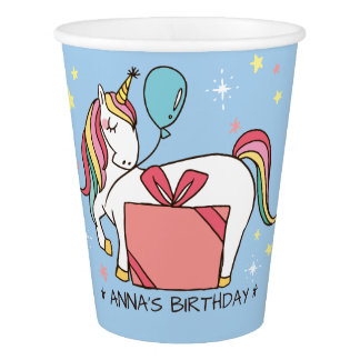 Cute Rainbow Unicorn with Gift and Balloon Paper Cup