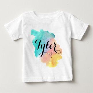 Cute rainbow watercolor baby name shirt