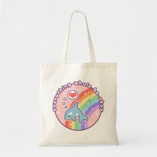 Cute Rainbow Whale Tote Bag