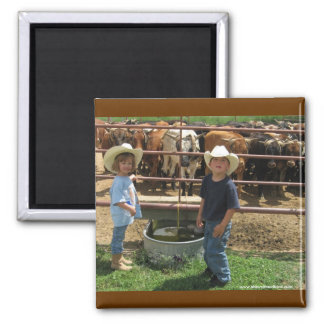 Cute Ranch Kids and Roping Cattle - Western Square Magnet