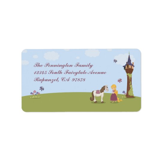 Cute rapunzel tower and horse address label