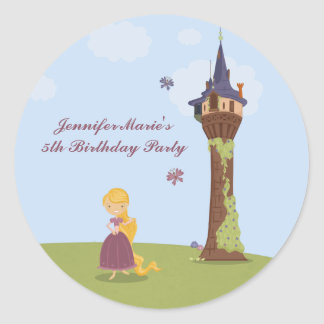 Cute rapunzel tower girl's birthday party stickers