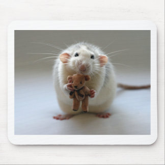 Cute Rat Holding teddy Mouse Pad