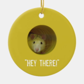 Cute Rat in a Hole Funny Animal Ceramic Ornament