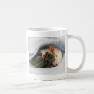 cute rat sleeping with teddy coffee mug