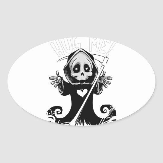 Cute reaper-baby reaper-cartoon reaper-baby grim oval sticker