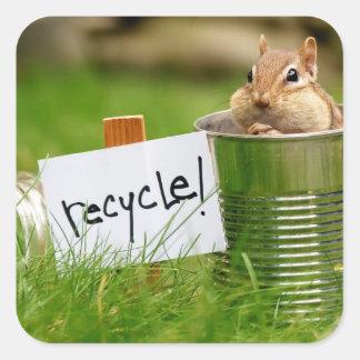 Cute Recycling Chipmunk Square Sticker