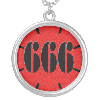 Cute Red 666 Flower Silver Plated Necklace