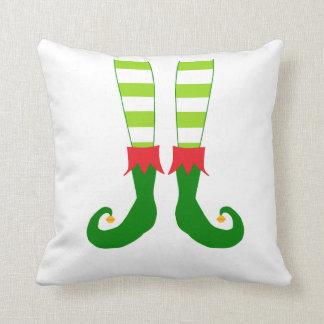 Cute Red and Green Christmas Elf Feet Cushion