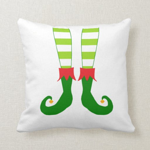 Cute Red and Green Christmas Elf Feet Pillow