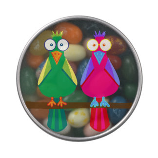 Cute red and green parrots jelly belly tins