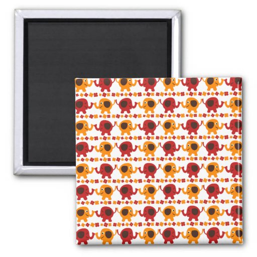 Cute Red and Orange Elephants Holding Trunks Tails Refrigerator Magnets