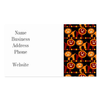 Cute Red and Orange Lions Jungle Pattern Pack Of Standard Business Cards