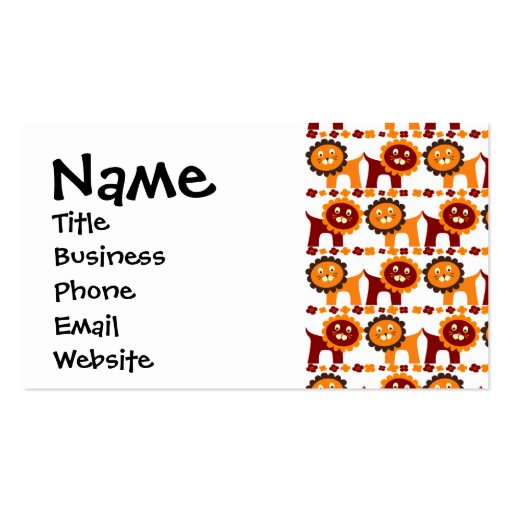 Cute Red and Orange Lions Jungle Pattern White Business Cards