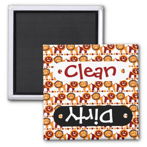 Cute Red and Orange Lions Jungle Pattern White Refrigerator Magnet